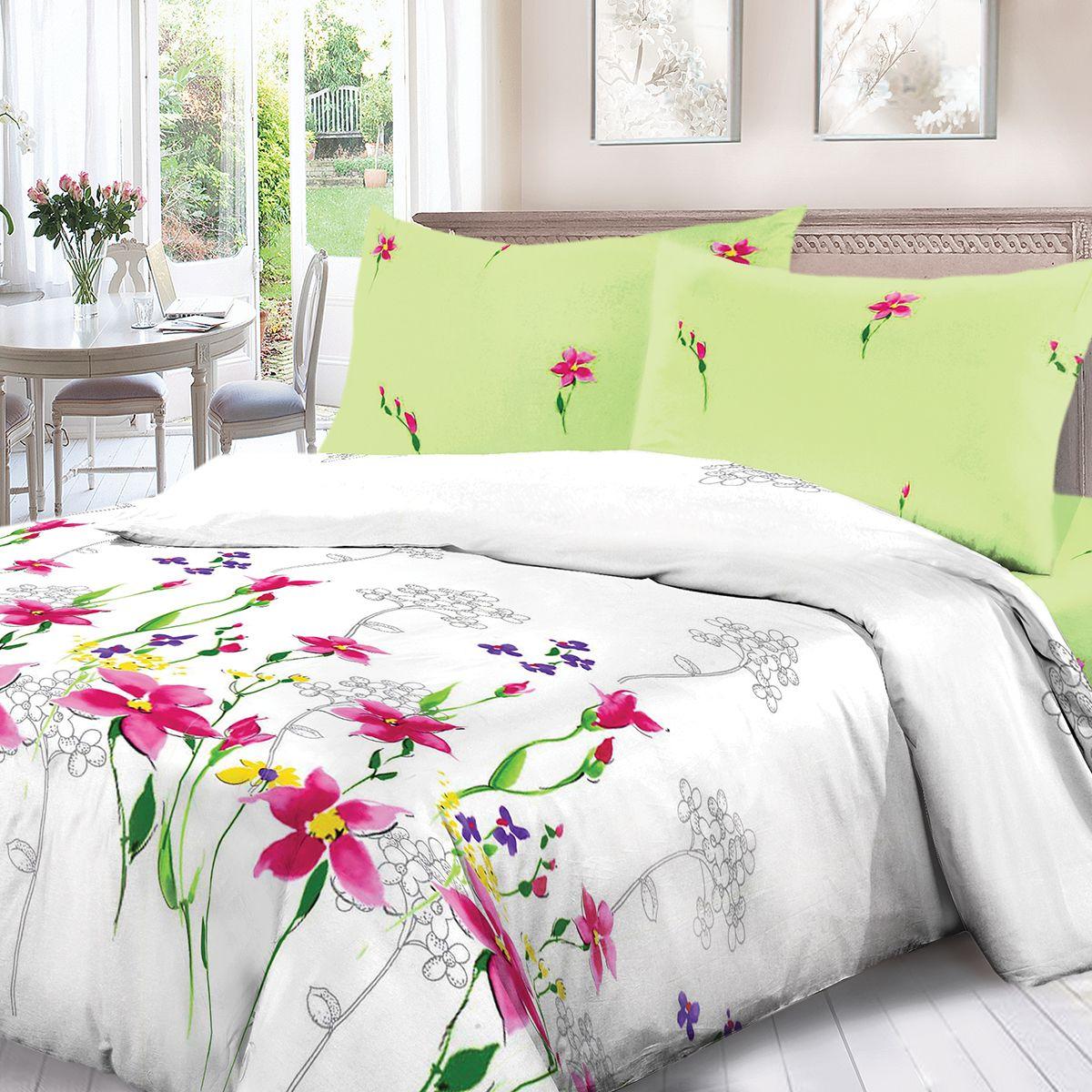 Комплект белья Для Снов Акварель, 2-х спальное, наволочки 70x70, цвет: белый. 1670-186457