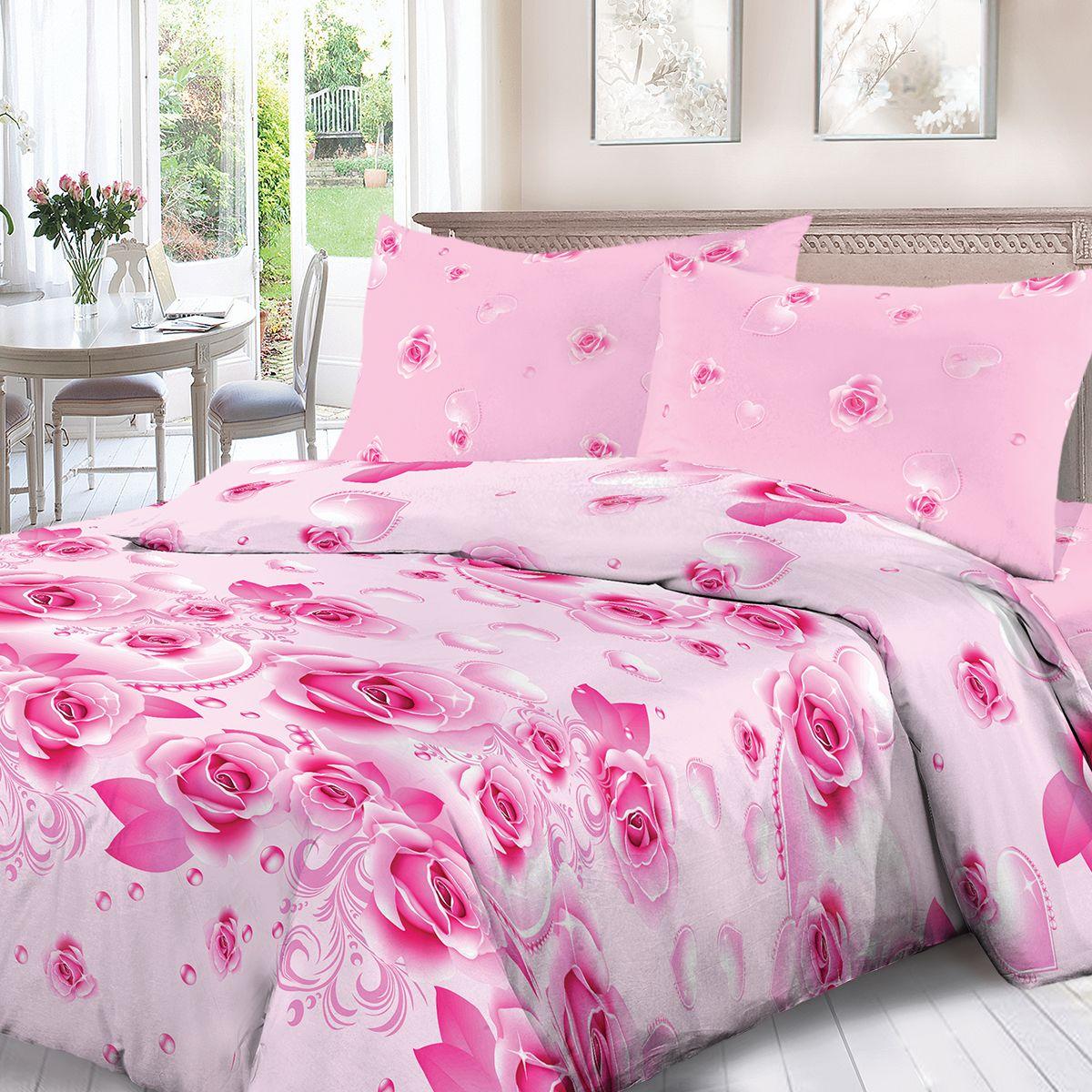 Комплект белья Для Снов Розовый жемчуг, евро, наволочки 70x70, цвет: розовый. 1553-186463