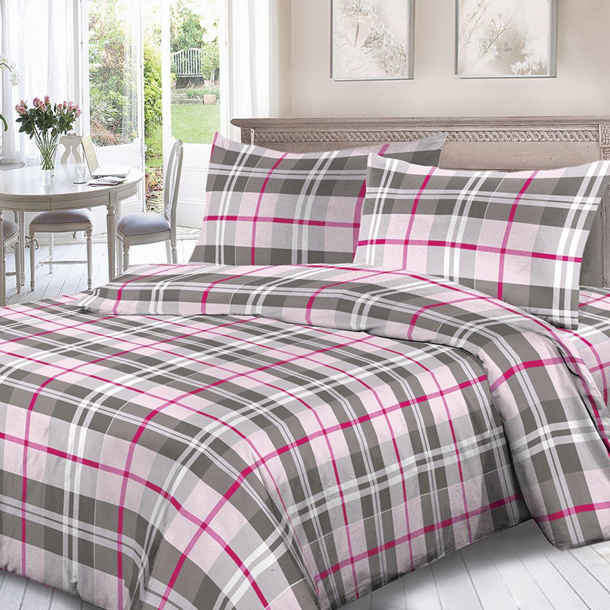 Комплект белья Для Снов Каро, 1,5 спальное, наволочки 70x70, цвет: розовый. 1667-186480