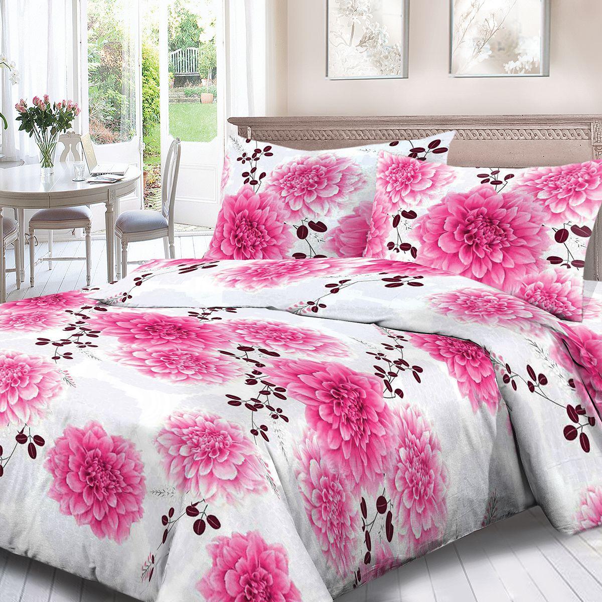 Комплект белья Для Снов Флер, 1,5-спальное, наволочки 70x70, цвет: розовый86481Постельное белье из высококачественного поплина ( Ткань Традиция) , в составе которого находится только 100% мерсеризованный хлопок - это идеальный выбор современной женщины. Мерсеризация подчеркивает лучшие свойства хлопка: - Ткань прочнее обычной, при этом мягкая и шелковистая; - Цвета яркие и устойчивые; - Высокая гигроскопичность; - Меньше мнется, не линяет и не садится при многократных стирках; При производстве используются только безопасные красители ведущего швейцарского производителя BEZEMA Коллекция отличается тщательно проработанными современными дизайнами, разделенными на тематические группы. Созданные талантливыми европейскими и российскими художниками, они поражают своей нежной красотой, а восхитительная упаковка придает комплекту подарочный вид. Плотность ткани: 110 г/м.кв.