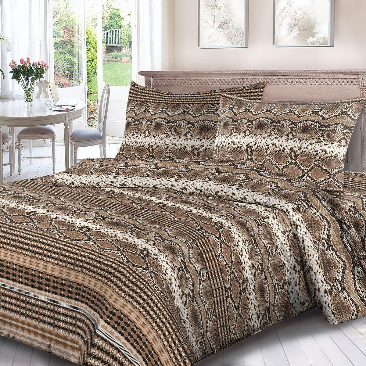 Комплект белья Для Снов Клеопатра, 2-х спальное, наволочки 70x70, цвет: коричневый. 3719-186497