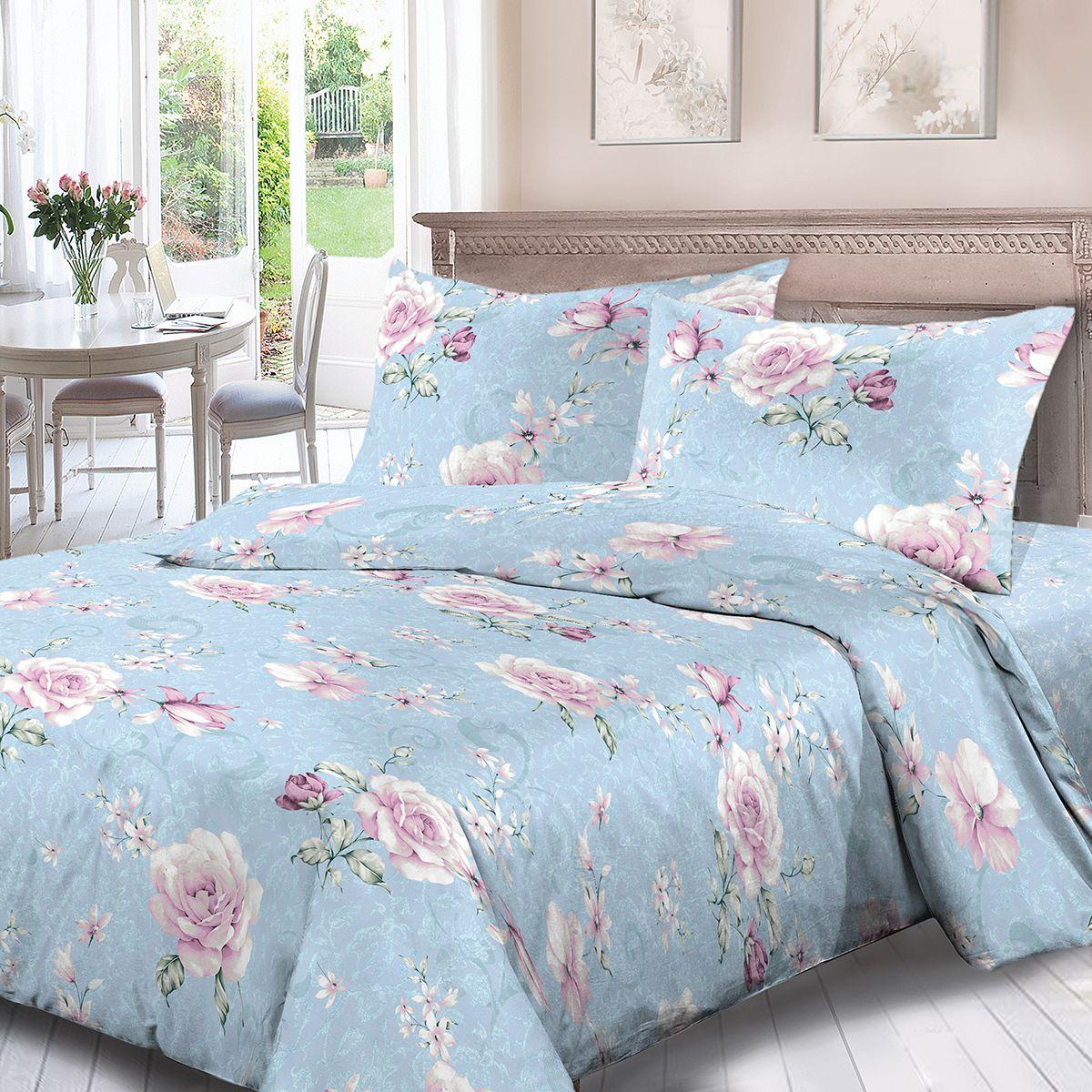 Комплект белья Для Снов Алемана, 2-х спальное, наволочки 70x70, цвет: голубой. 3792-186499