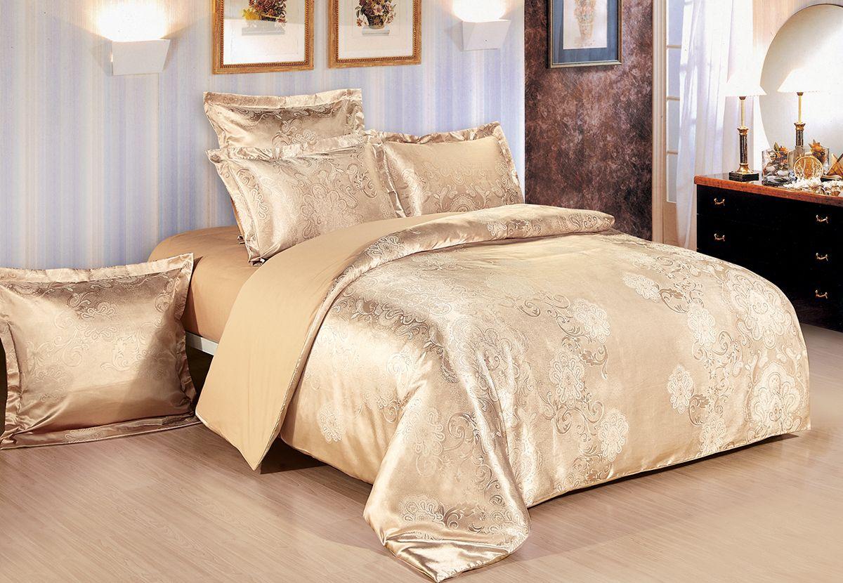 Комплект белья Versailles Джули, евро, наволочки 50x70, цвет: золотой86694Коллекция Versailles относится к продукции класса люкс. Постельное белье из сатина, сотканного из хлопка с добавлением вискозных волокон дарит приятные тактильные ощущения на протяжении всего сна, а уникальные жаккардовые узоры придают танки мягкий блеск и обеспечивают материалу особую прочность. Постельное белье «Versailles» - отличный подарок на любое торжество и идеальный выбор для взыскательных покупателей . Состав: Хлопок 70%, вискоза 30%