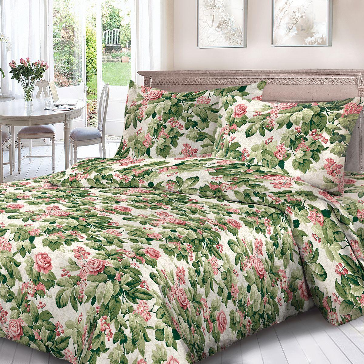 Комплект белья Для Снов Романс, 1,5 спальное, наволочки 70x70, цвет: зеленый. 1702-187092