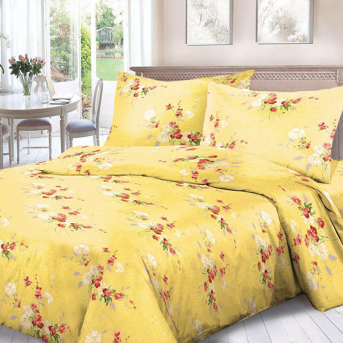 Комплект белья Для Снов Амброзия, 2-х спальное, наволочки 70x70, цвет: желтый. 1536-187328