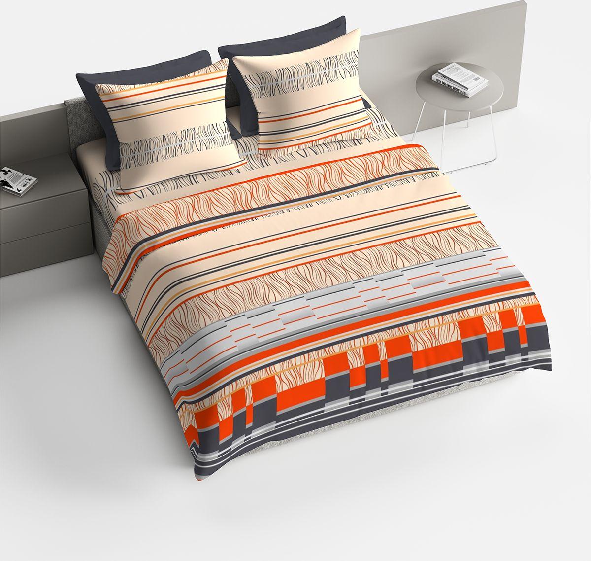 Комплект белья Браво Манфредо, евро, наволочки 70x70, цвет: оранжевый. 4075-187744
