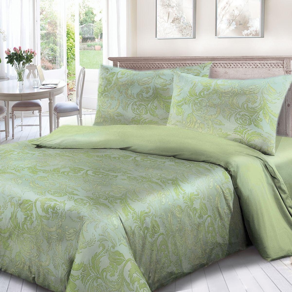 Комплект белья Сорренто Мажор, 1,5 спальное, наволочки 70x70, цвет: зеленый. 3963-287888