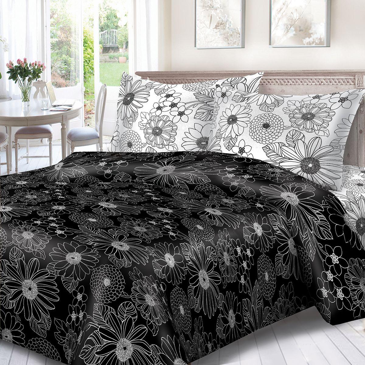 Комплект белья Сорренто День и ночь, 1,5 спальное, наволочки 70x70, цвет: черный. 1132-189074