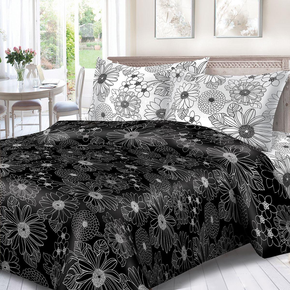 Комплект белья Сорренто День и ночь, евро, наволочки 70x70, цвет: черный. 1132-189076