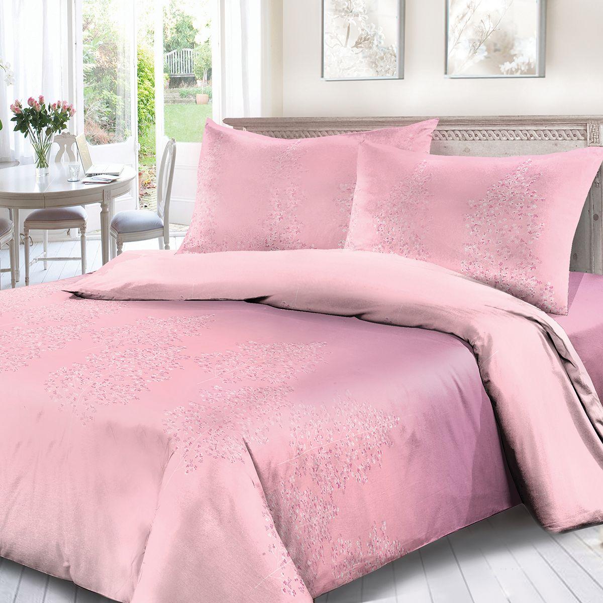 Комплект белья Сорренто Аврора, 1,5 спальное, наволочки 70x70, цвет: розовый. 1500-189078