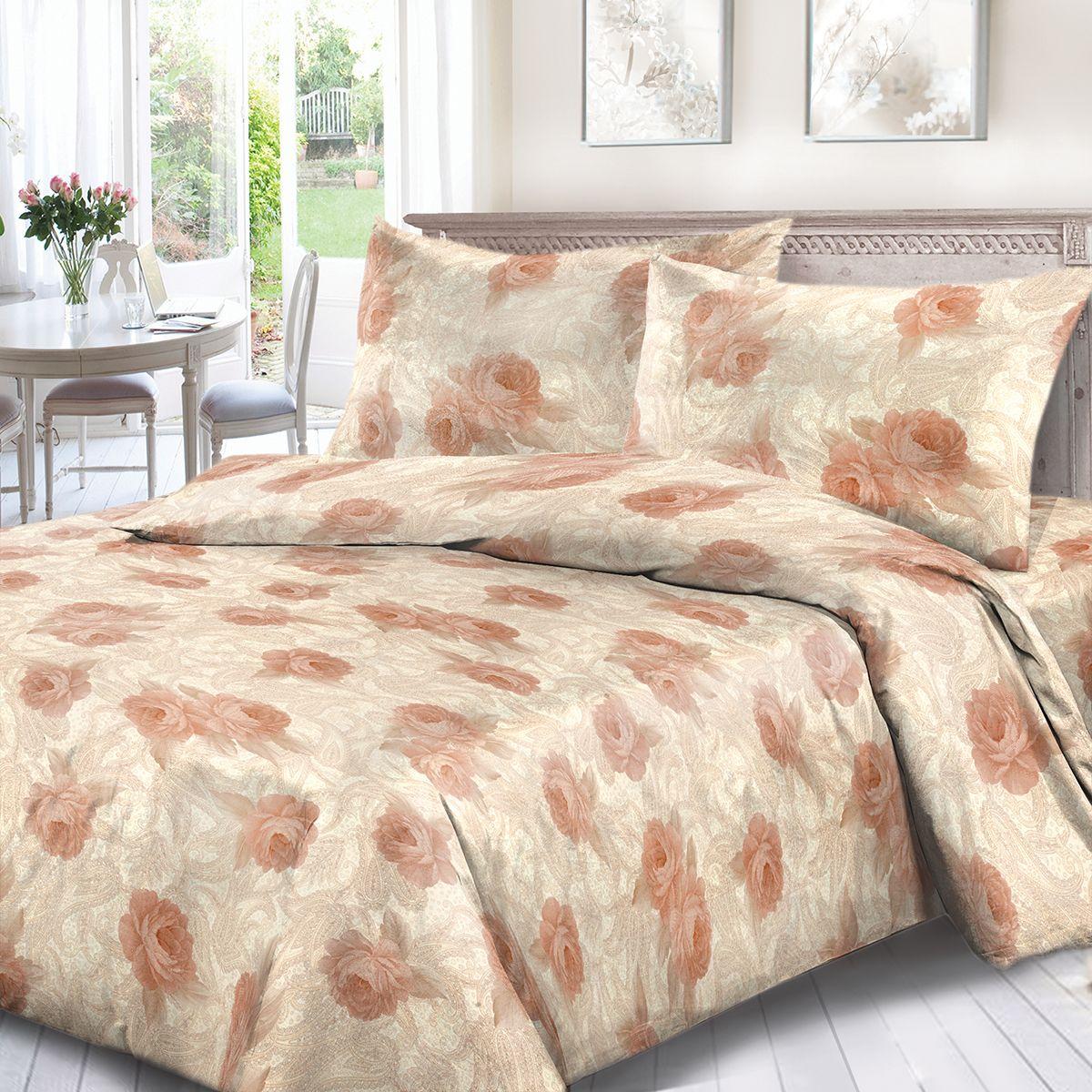 Комплект белья Сорренто Ажур, 2-х спальное, наволочки 70x70, цвет: бежевый. 1664-189083