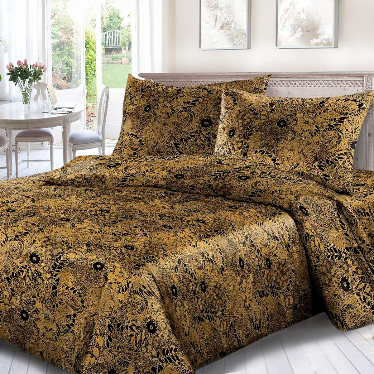 Комплект белья Сорренто Кружево, 1,5 спальное, наволочки 70x70, цвет: коричневый. 1698-189086