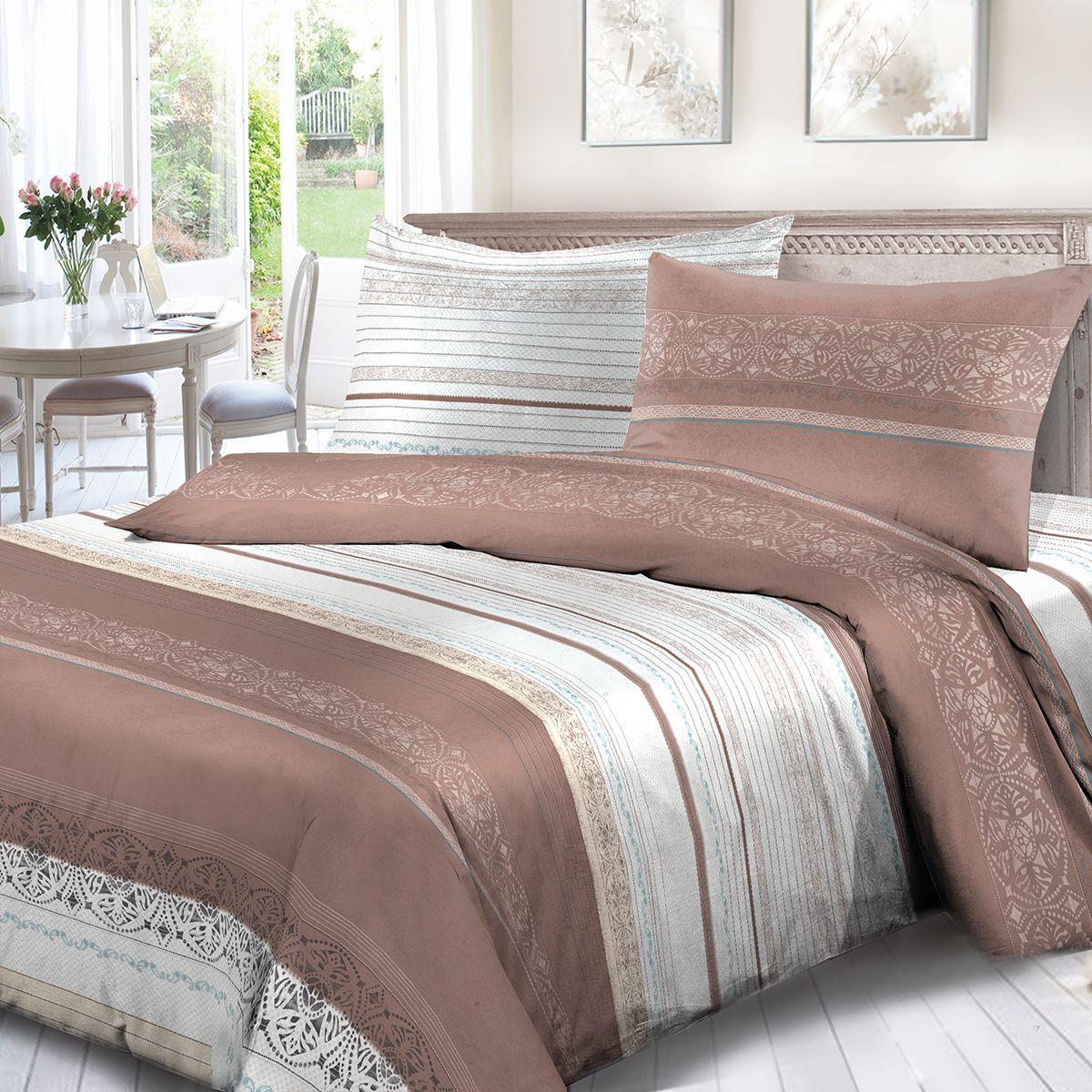 Комплект белья Сорренто Кофе с молоком, 1,5 спальное, наволочки 70x70, цвет: коричневый. 1716-189090