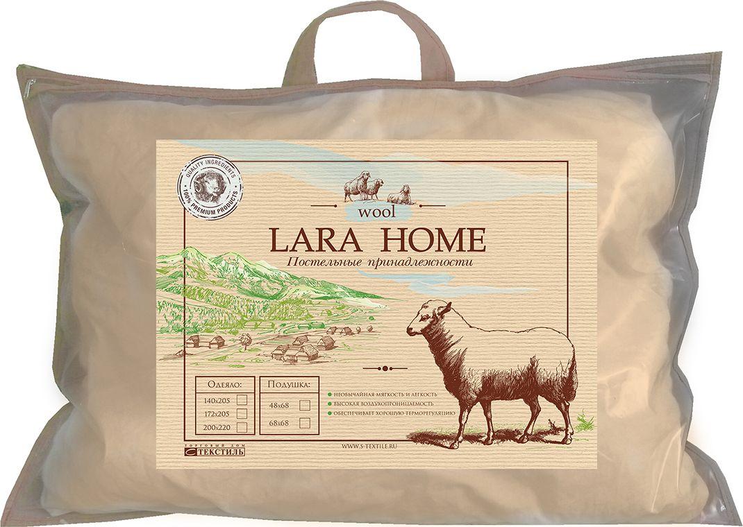 Подушка Lara Home Wool, цвет: бежевый, 48 х 68 см89533Наполнитель: овечья шерсть, силиконизированное волокно