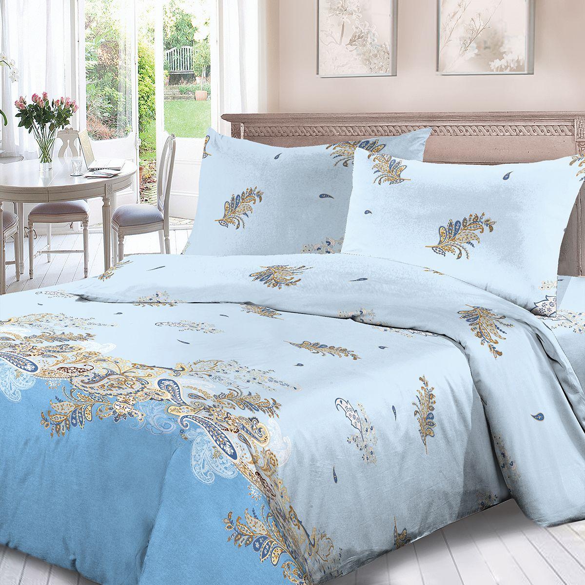 Комплект белья Для Снов Македония, евро, наволочки 70x70, цвет: голубой. 4129-190153