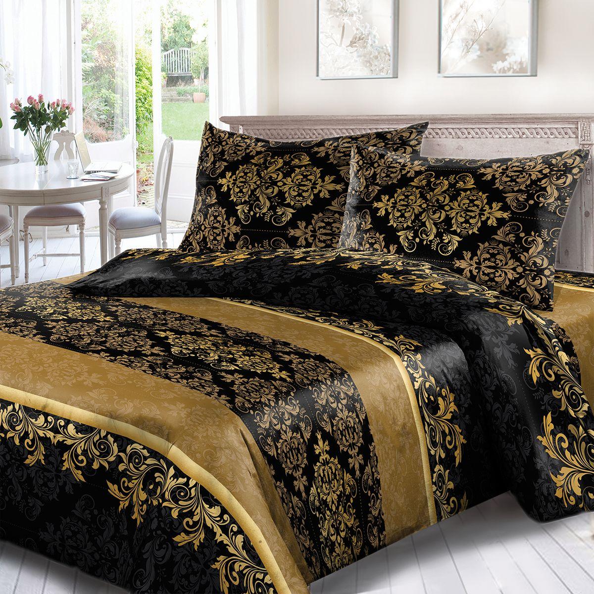 Комплект белья Сорренто Афины, 1,5 спальное, наволочки 70x70, цвет: черный. 3733-190231