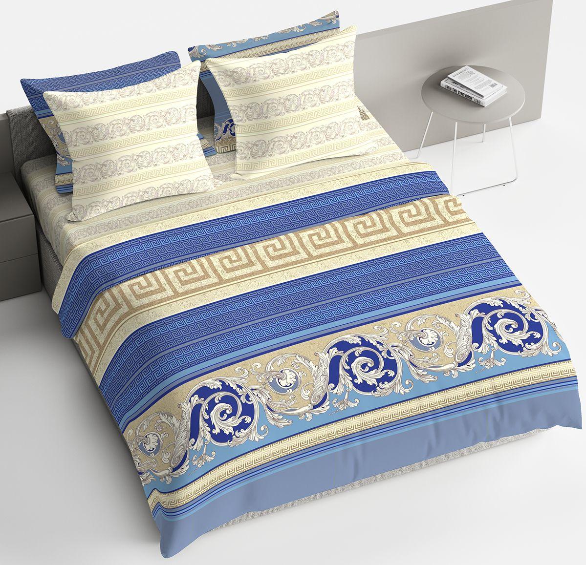 Комплект белья Браво Барокко, 1,5 спальное, наволочки 70x70, цвет: синий. 4127-190409