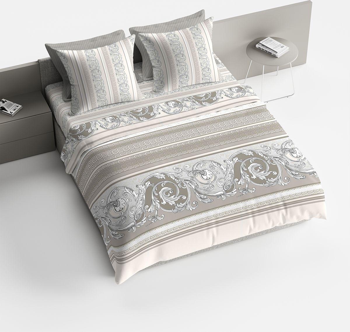 Комплект белья Браво Барокко, евро, наволочки 70x70, цвет: серый90414Комплекты постельного белья из ткани LUX COTTON (высококачественный поплин), сотканной из длинноволокнистого египетского хлопка, созданы специально для людей с оригинальным вкусом, предпочитающим современные решения в интерьере. Обновленная стильная упаковка делает этот комплект отличным подарком. • Равноплотная ткань из 100% хлопка; • Обработана по технологии мерсеризации и санфоризации; • Мягкая и нежная на ощупь; • Устойчива к трению; • Обладает высокими показателями гигроскопичности (впитывает влагу); • Выдерживает частые стирки, сохраняя первоначальные цвет, форму и размеры; • Безопасные красители ведущего немецкого производителя BEZEMA