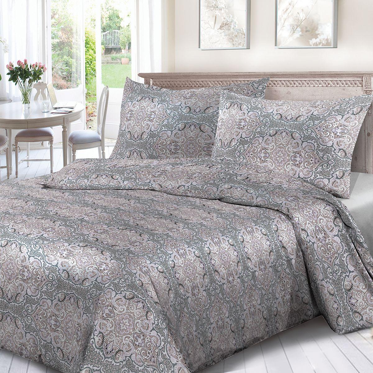 Комплект белья Сорренто Алессандра, 1,5 спальное, наволочки 70x70, цвет: сиреневый. 4124-190429