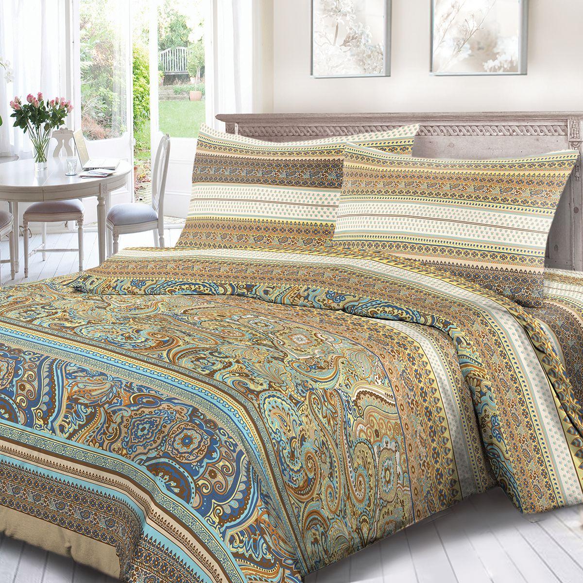 Комплект белья Сорренто Измир, евро, наволочки 70x70, цвет: разноцветный. 4126-190439