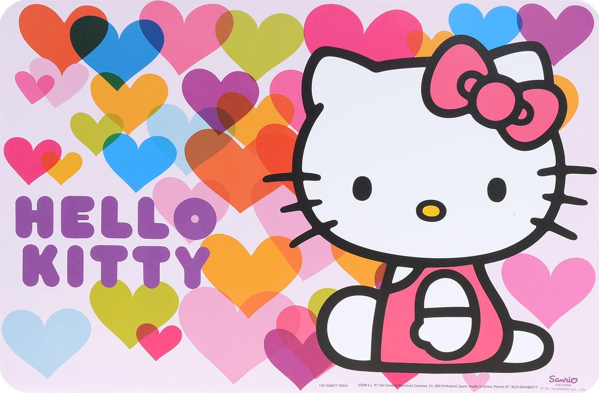 Hello Kitty Салфетка под горячее 44 х 30 см53319Салфетка под горячее Hello Kitty не только украсит стол, но и защитит его от различных повреждений. Она выполнена из плотного материала и красочно оформлена разноцветными сердечками с изображением героя популярного мультфильма Hello Kitty - кошечки Kitty. Салфетку можно использовать как под посуду, так и просто для украшения интерьера. Не использовать в СВЧ-печах и посудомоечных машинах.