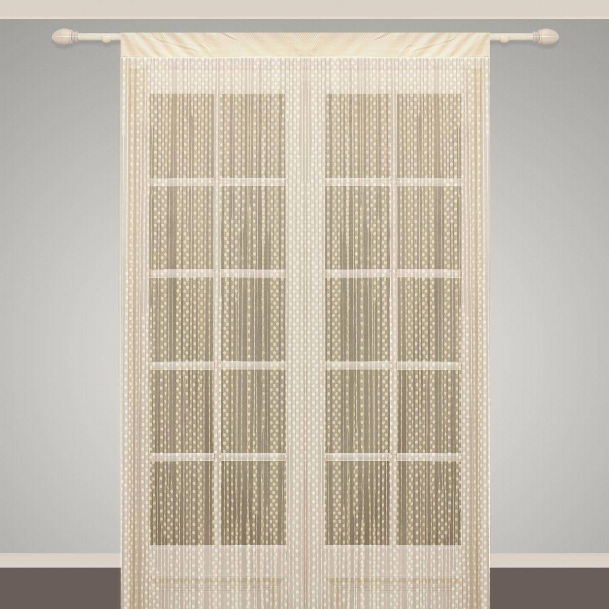 Штора нитяная Sanpa Home Collection, на ленте, цвет: бежевый, высота 290 см. SP102SP 102/BEIGE, , 150*290 см