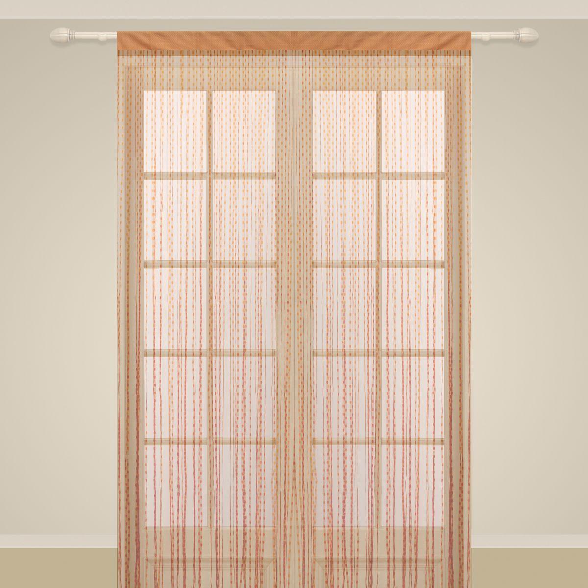 Штора нитяная Sanpa Home Collection, на ленте, цвет: кирпичный, высота 290 см. SP102SP 102/BRICK, , 150*290 см
