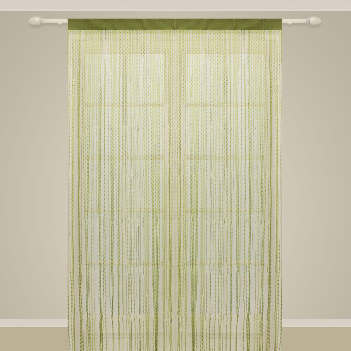 Штора нитяная Sanpa Home Collection, на ленте, цвет: салатовый, высота 290 см. SP102SP 102/LIMEGREEN, , 150*290 см