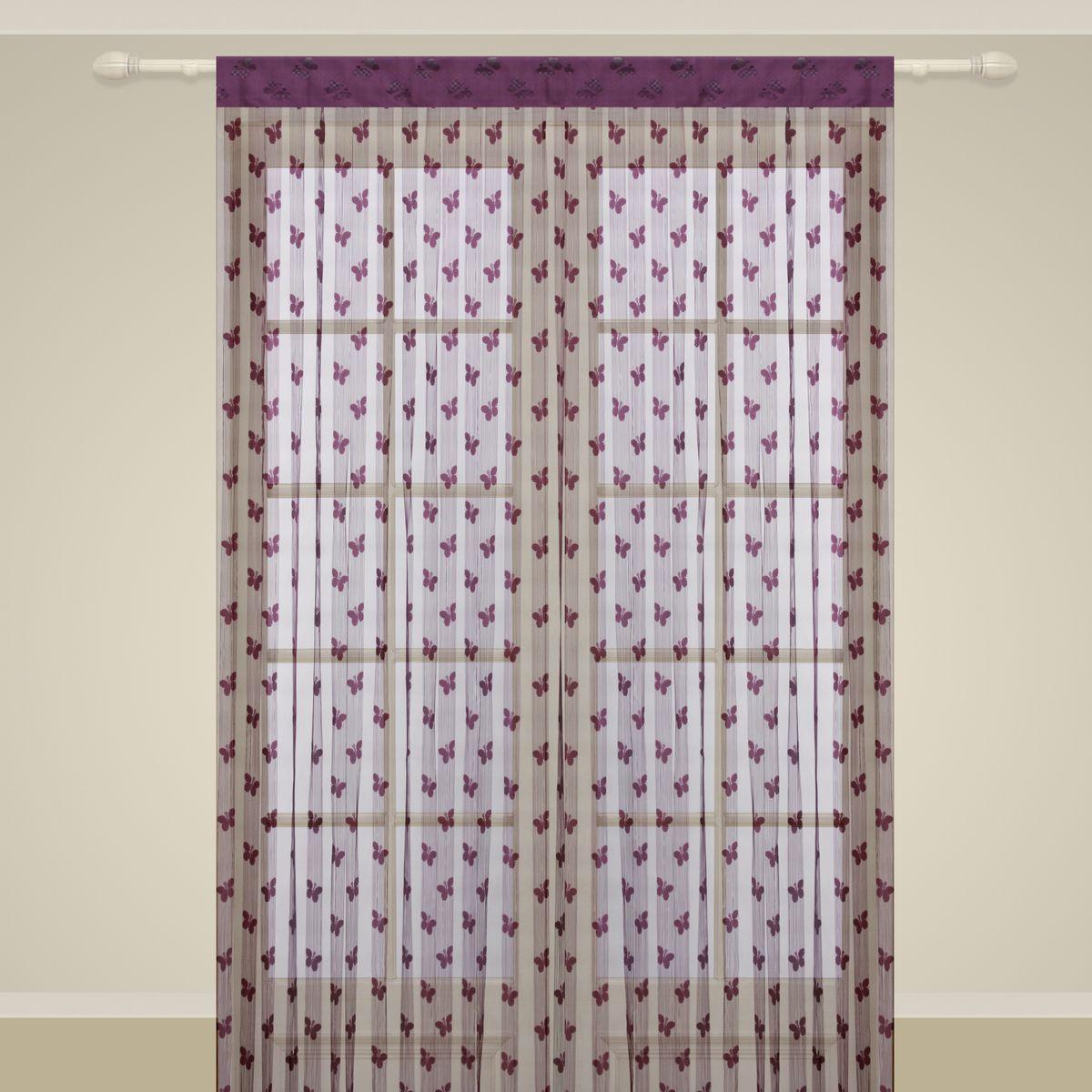 Штора нитяная Sanpa Home Collection, на ленте, цвет: лаванда, высота 290 см. SP106SP 106/LAVENDER, , 150*290 см