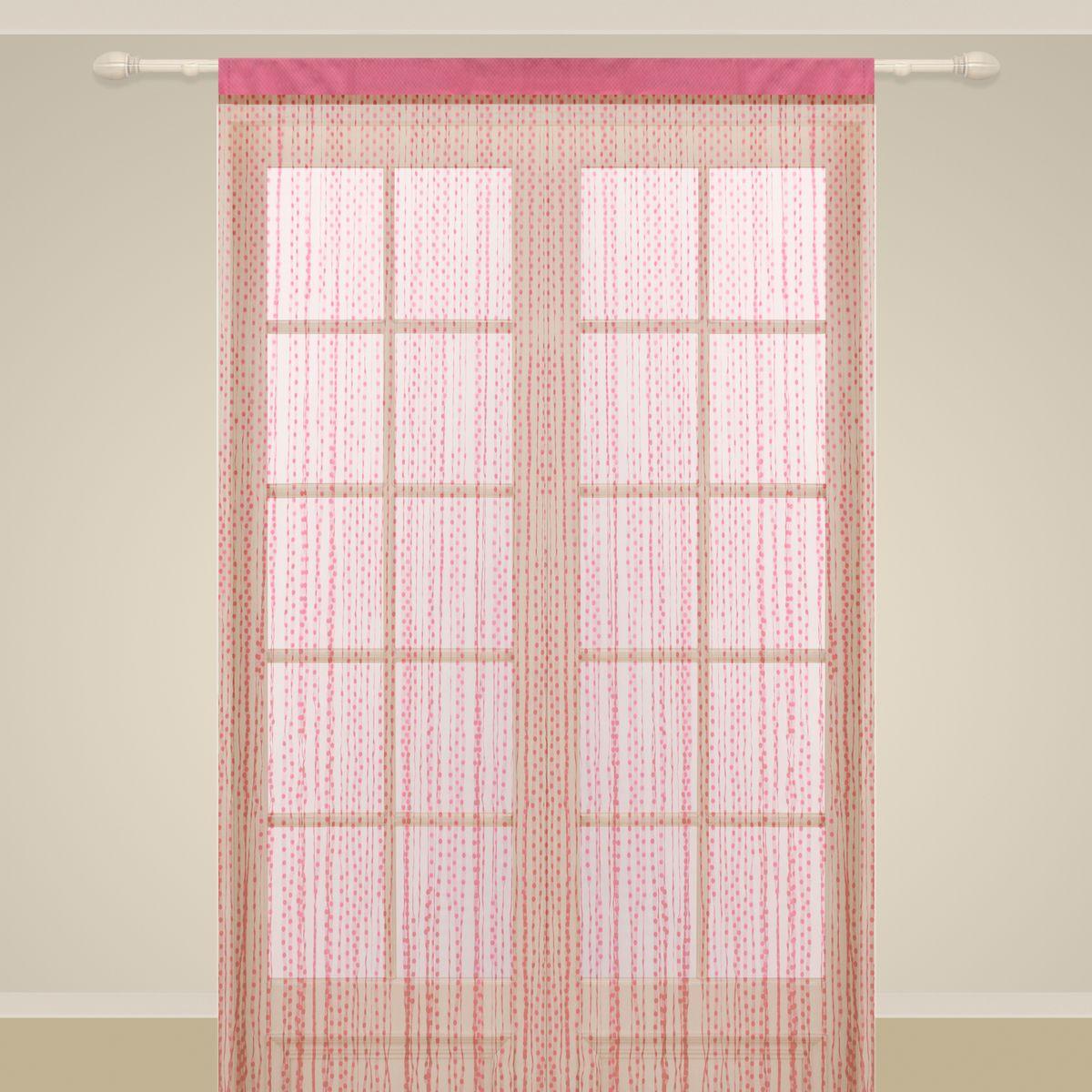 Штора нитяная Sanpa Home Collection, на ленте, цвет: фуксия, высота 290 см. SP112SP12M, FUSHIA, 290*150 см