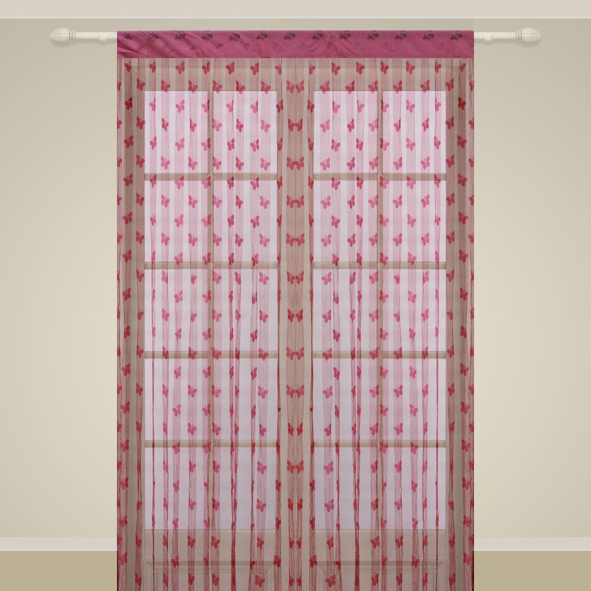 Штора нитяная Sanpa Home Collection, на ленте, цвет: фуксия, высота 290 см. SP106SP 106/FUSHIA, , 150*290 см