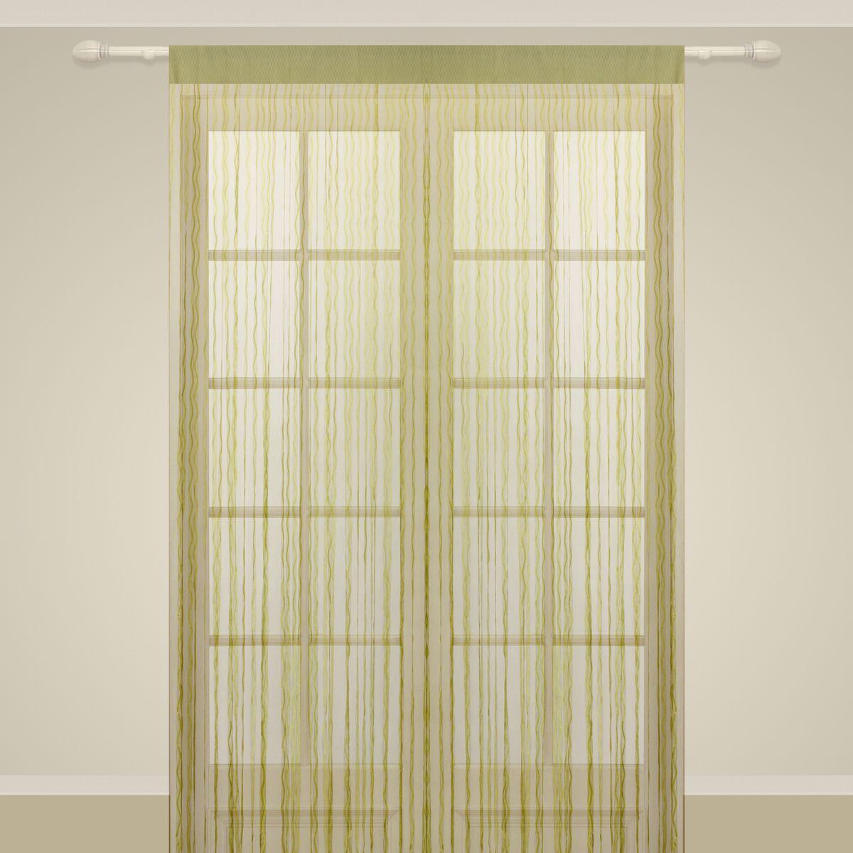 Штора нитяная Sanpa Home Collection, на ленте, цвет: зеленый, высота 290 см. SP104SP 104/GREEN, , 150*290 см
