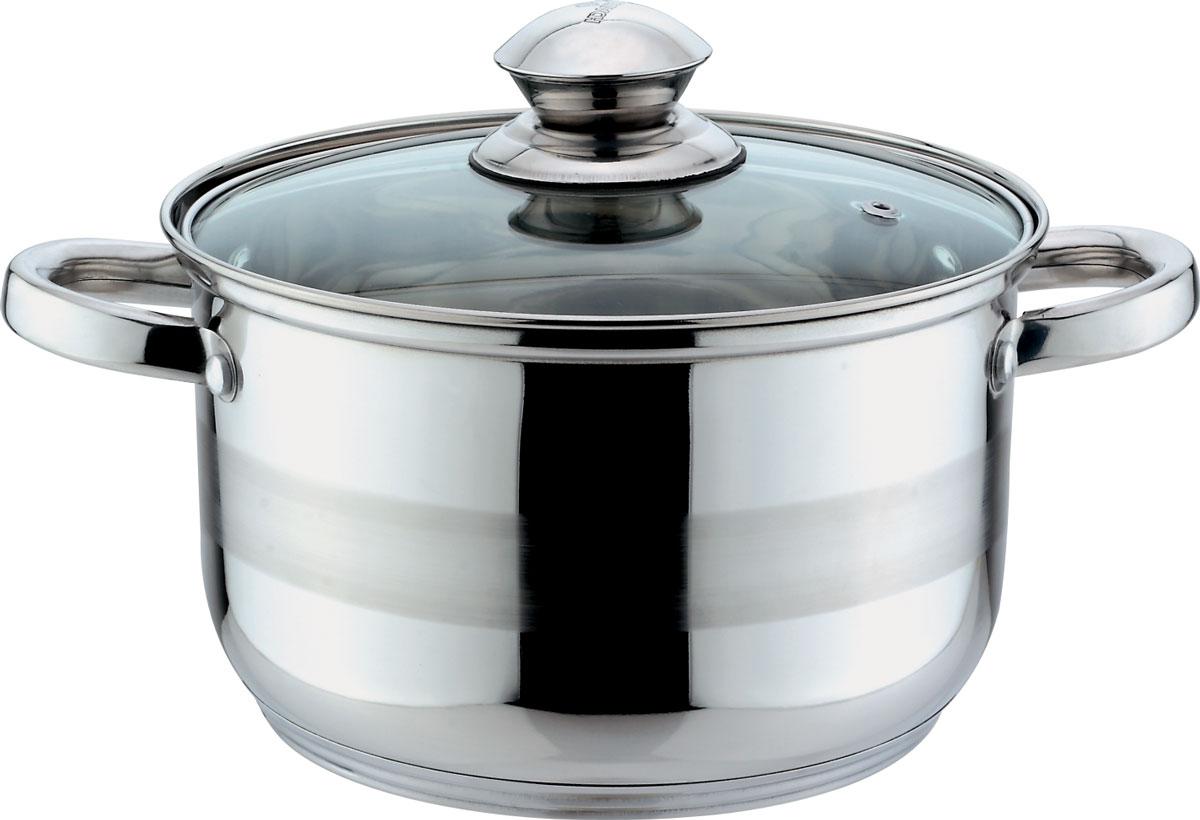 Кастрюля Bekker Jumbo, с крышкой, 1,9 лBK-1259Кастрюля объемом 1,9 л (16 см), крышка стеклянная, ручки из нержавеющей стали, капсулированное дно, мерная шкала на внутренней стенке, поверхность зеркальная с матовой полосой. Подходит для индукционных плит и чистки в посудомоечной машине. Состав: нержавеющая сталь.
