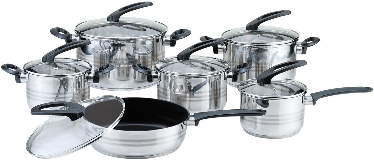 Набор посуды Bekker Premium, 12 предметовBK-2710В наборе из 12 предметов: 4 кастрюли 1.9 л (16 х 10,5 см); 2.7 л (18 х 11,5 см); 3.6 л (20 х 12,5 см); 6.1 л (24 х 14,5 см), ковш 1,9 л (16 х 10,5 см), сковорода с антипригарным покрытием 2.9 л (24 х 7.5 см), стенки 0,5 мм, крышки стеклянные, ручки бакелитовые, капсулированное дно, мерная шкала, поверхность зеркальная с матовой полосой. Состав: нержавеющая сталь.