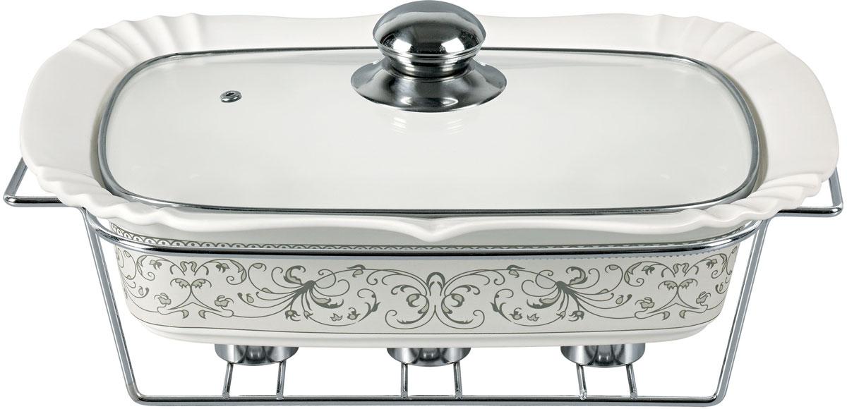 Мармит Bekker, с крышкой, на подставке. BK-7361BK-7361Кастрюля: 2,3 л (36,5 х 26,8 см), крышка стеклянная с ручкой из нержавеющей стали, подставка металлическая. Состав: жаропрочная керамика. Предназначен для сохранения пищи в подогретом виде.
