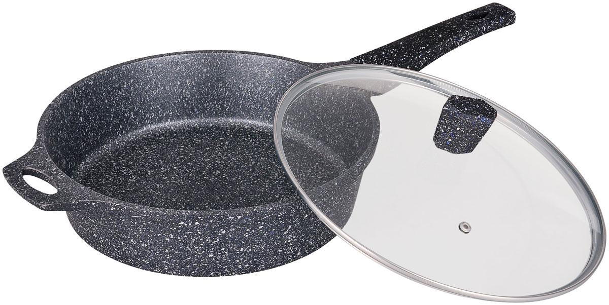 Сотейник Winner Marble coating, с крышкой, с антипригарным мраморным покрытием. Диаметр 28 см. WR-8146WR-8146Диаметр сотенийка 28 см, толщина стенки - 2 мм, дна - 4,5 мм, высота 7,5 см. Покрытие: внутри - антипригарное мраморное серое, снаружи - жаростойкое лаковое серое. Ручки бакелитовые с покрытием Soft Touch. Стеклянная крышка. Подходит для индукционных плит и чистки в посудомоечной машине. Состав: литой алюминий.
