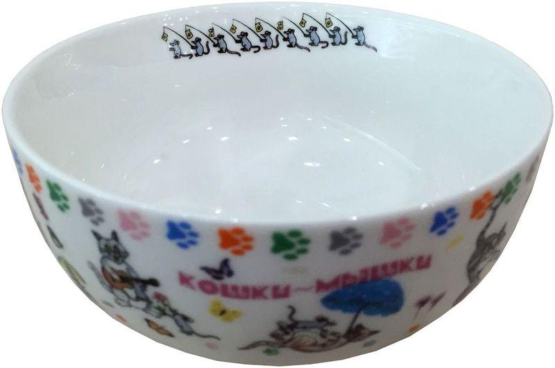 Набор салатников GiftnHome Кошки-мышки, диаметр 13,5 см, 4 штBow-14BONS КошкиСалатник из костяного фарфора, набор упакован в картонную коробку