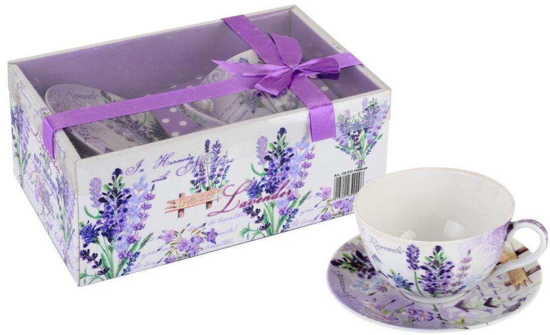 Чайная пара GiftnHome Лаванда, 260 мл, 2 предметаCS-260 ЛавандаЧашка с блюдцем из костяного фарфора, упаковка-картон, PVC