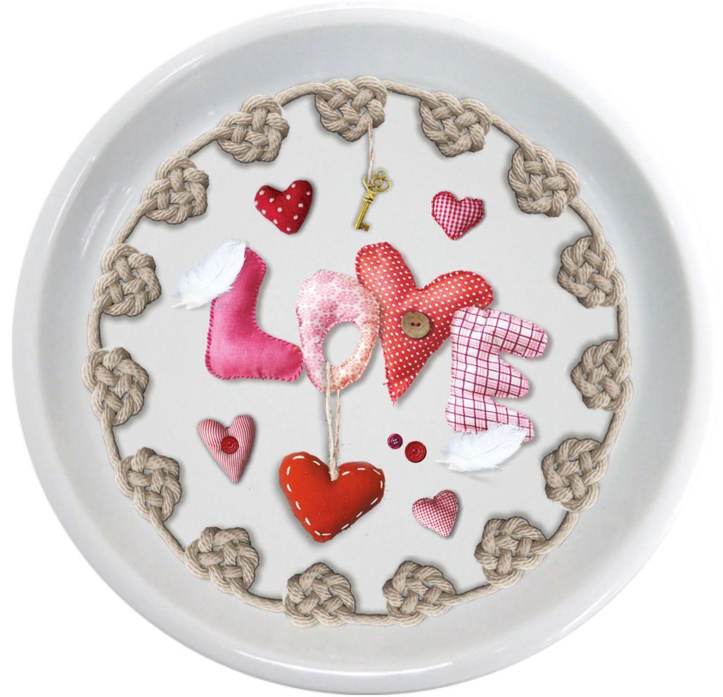 Крышка-блюдце GiftnHome Сердечки любвиLid-LoveКрыжка-блюдце из фарфора, упаковка PVC! Изображение с двух сторон