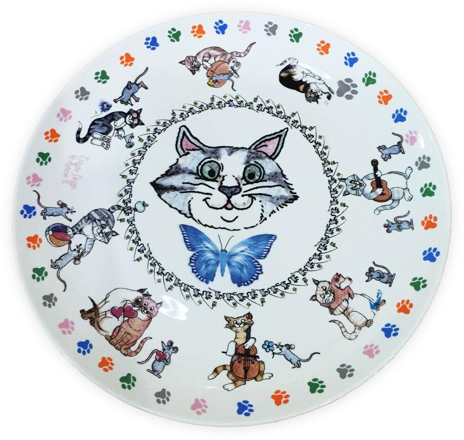 Набор тарелок GiftnHome Кошки-мышки, диаметр 20 см, 4 штPL-20S BON КошкиТарелка из костяного фарфора, набор упакован в картонную коробку