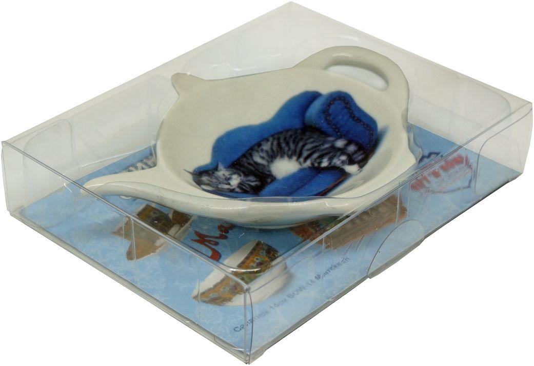 Подставка GiftnHome Кот, под чайные пакетикиTB-CatБлюдце из фарфора, упаковка PVC