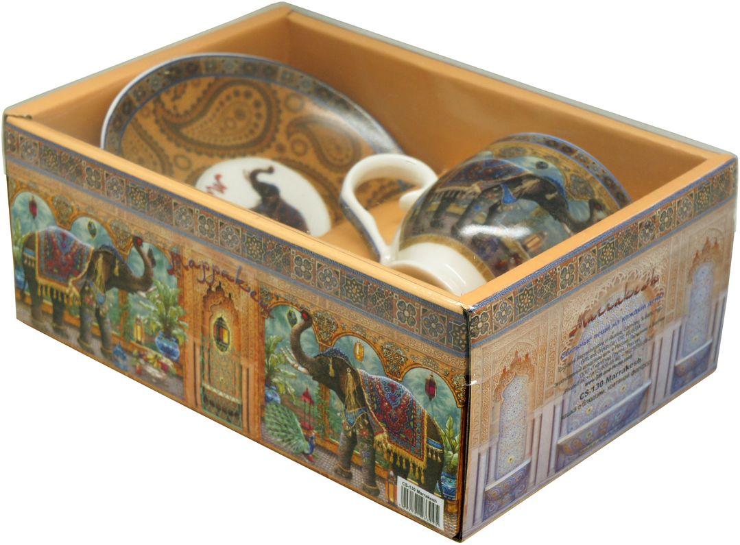 Чайная пара GiftnHome, 130 мл, 2 предметаСS-130 MarrakeshНабор из костяного фарфора, подарочная упаковка- картон,PVC