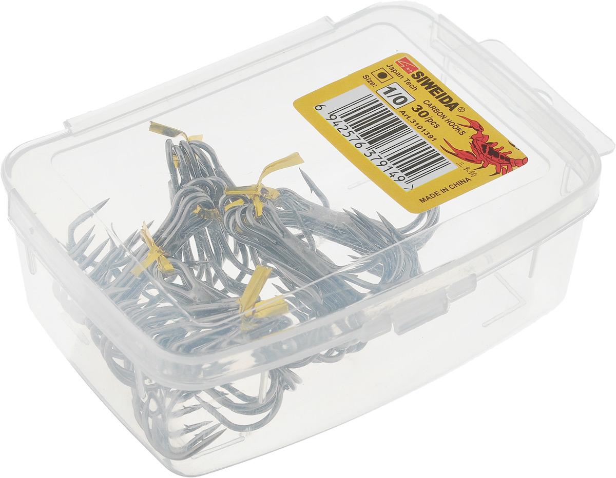 Крючок рыболовный SWD Scorpion, тройной, №1, 30 шт13-10-8-082Бюджетный тройной крючок SWD Scorpion выполнен из высококачественной углеродистой легированной проволоки. Применяется новейшая технология термообработки. Стойкое антикоррозийное покрытие обеспечивает крючкам долгий срок эксплуатации. Жала крючков подвержены электрохимической обработке.
