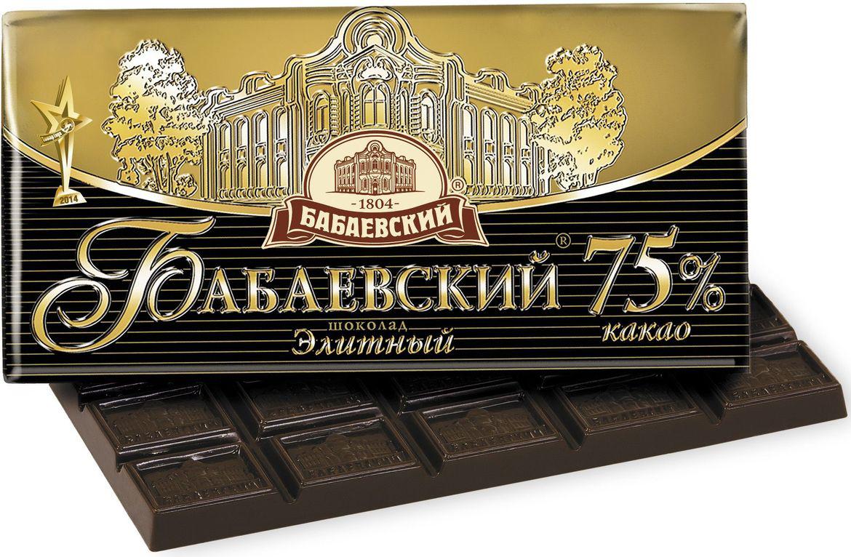Бабаевский элитный 75% какао темный шоколад, 100 гББ08322Гордость бренда Бабаевский - высококачественный темный шоколад, созданный с использованием отборных какао бобов и какао масла.