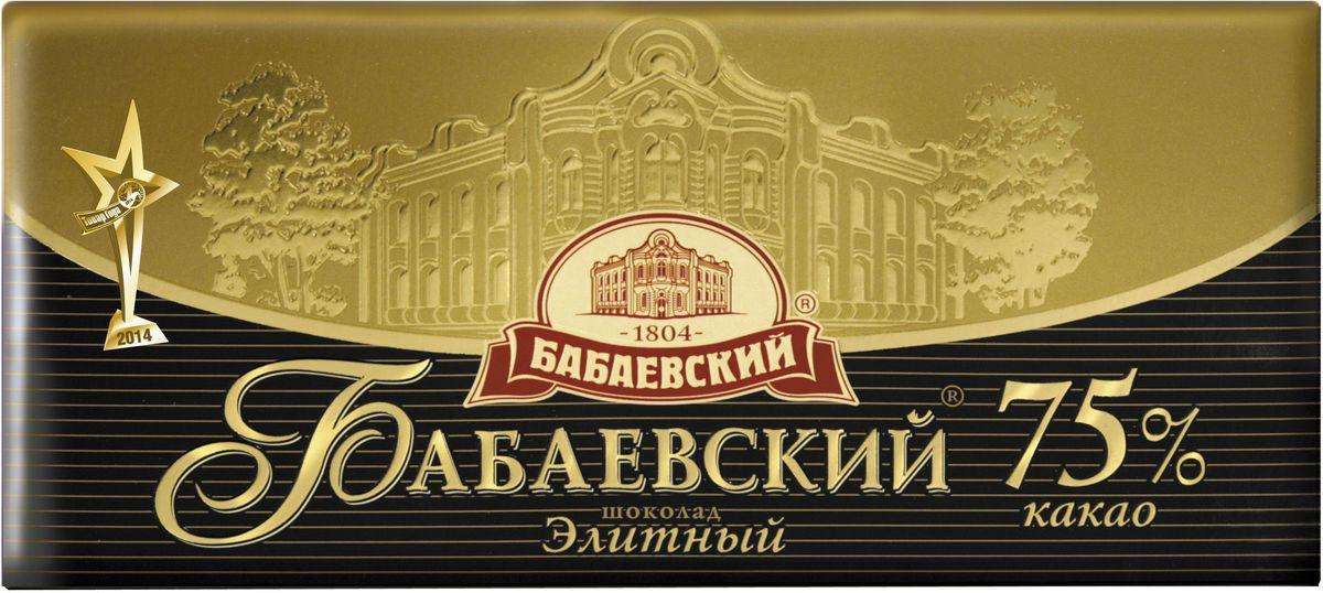 Бабаевский элитный 75% темный шоколад, 200 гББ09491Гордость бренда Бабаевский - высококачественный темный шоколад, созданный с использованием отборных какао бобов и какао масла.