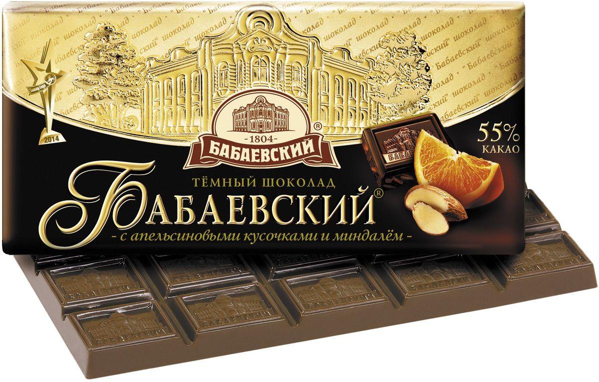 Бабаевский с апельсиновыми кусочками и миндалем темный шоколад, 100 г ББ11679