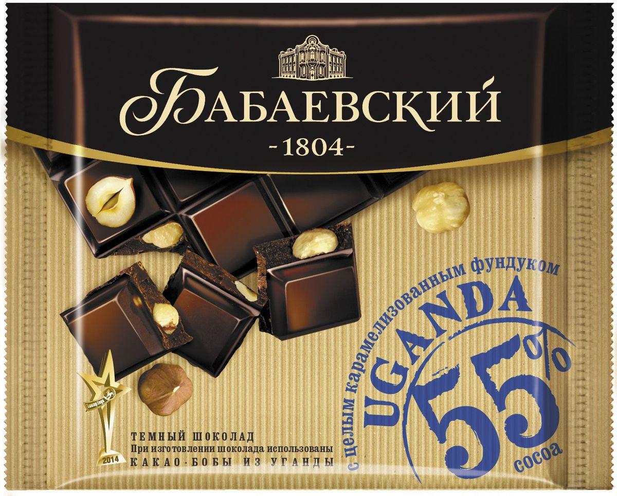 Бабаевский темный Uganda с целым карамелизованным фундуком темный шоколад, 90 г