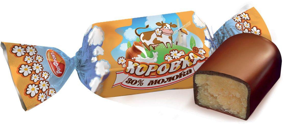 Рот-Фронт Коровка конфеты с 30% молока в шоколадной глазури, 250 гРФ08792Знаменитые московские конфеты, напоминают Вкус Детства!
