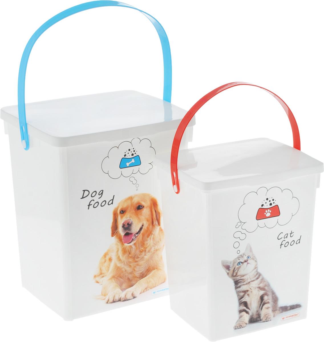 Комплект контейнеров для корма животных Полимербыт, 2 шт. SGHPBKP16SGHPBKP16Комплект Полимербыт состоит из двух контейнеров для хранения корма для животных. Изделия выполнены из пластика и оформлены оригинальным рисунком. Контейнеры оснащены подвижными ручками и крышками, которые плотно закрывают изделие. Многофункциональная вещь, которая пригодится в быту для любых случаев. Контейнеры удобны в использование и хранении. Объем контейнеров: 5 л, 8,5 л. Размер контейнеров (с учетом крышки): 23 х 20 х 27,5 см, 19 х 17 х 23 см.