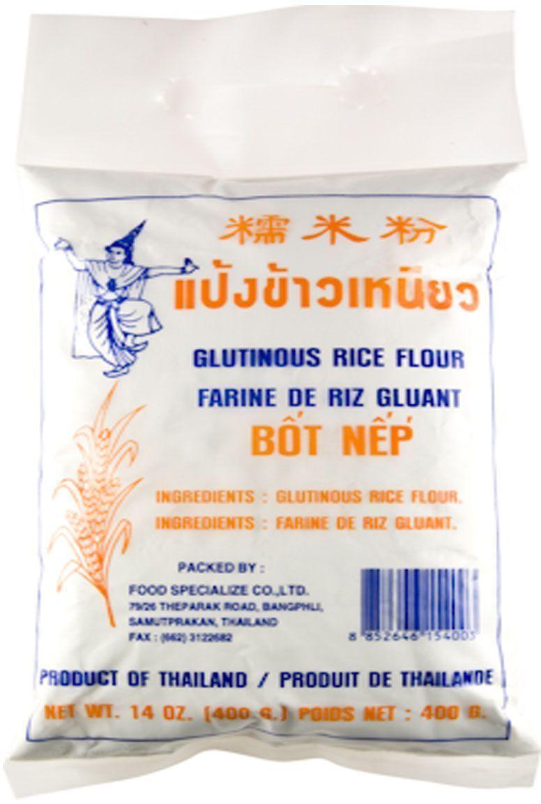 Thai Dancer Мука из клейкого риса, 400 гFS0010016Мука из клейкого риса производится путем размалывания семян клейкого риса и применяется в дальневосточной и юго-восточноазиатской кухне для приготовления выпечки, десертов, а также в качестве загустителя. Более плотная структура получающегося теста по сравнению с обычной рисовой мукой обеспечивает популярность данного продукта в качестве основы для пельменей и выпечки.